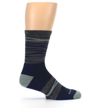 Image of Navy Grey Wave Stripe Men's Wool Hiking Socks (side-1-24)