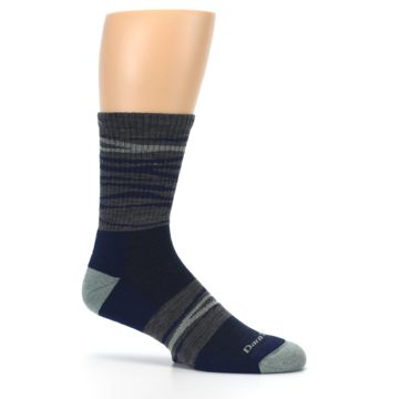 Image of Navy Grey Wave Stripe Men's Wool Hiking Socks (side-1-25)