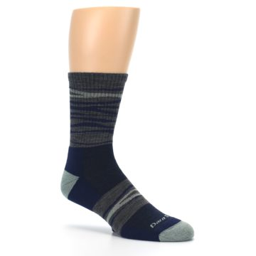 Image of Navy Grey Wave Stripe Men's Wool Hiking Socks (side-1-26)