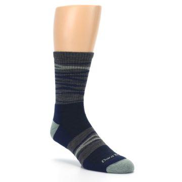 Image of Navy Grey Wave Stripe Men's Wool Hiking Socks (side-1-27)