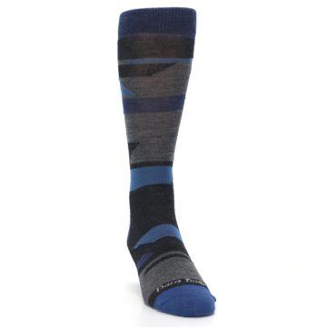 Image of Charcoal Blue Grey Stripe Wool Men's Socks (side-1-front-03)