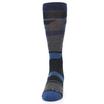Image of Charcoal Blue Grey Stripe Wool Men's Socks (front-05)