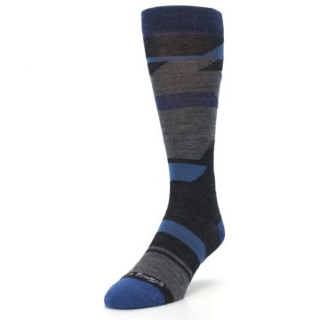 Image of Charcoal Blue Grey Stripe Wool Men's Socks (side-2-front-07)