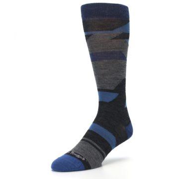 Image of Charcoal Blue Grey Stripe Wool Men's Socks (side-2-front-08)
