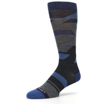 Image of Charcoal Blue Grey Stripe Wool Men's Socks (side-2-09)