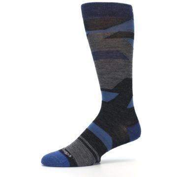 Image of Charcoal Blue Grey Stripe Wool Men's Socks (side-2-10)