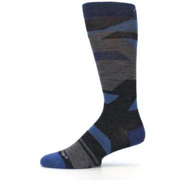 Image of Charcoal Blue Grey Stripe Wool Men's Socks (side-2-11)