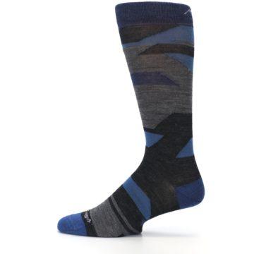 Image of Charcoal Blue Grey Stripe Wool Men's Socks (side-2-12)