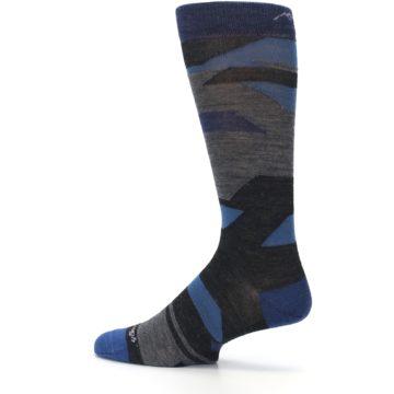 Image of Charcoal Blue Grey Stripe Wool Men's Socks (side-2-13)