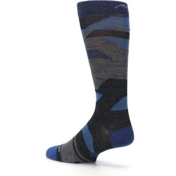 Image of Charcoal Blue Grey Stripe Wool Men's Socks (side-2-back-14)