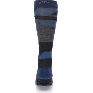 Image of Charcoal Blue Grey Stripe Wool Men's Socks (back-18)
