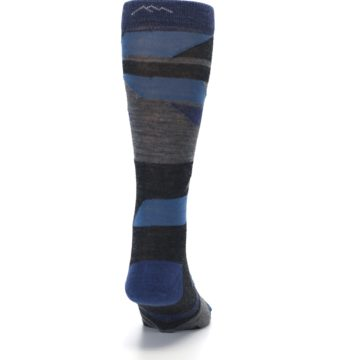 Image of Charcoal Blue Grey Stripe Wool Men's Socks (back-19)