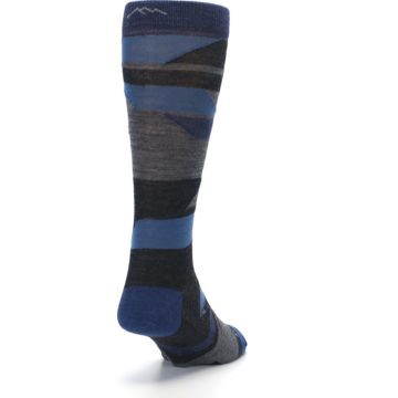 Image of Charcoal Blue Grey Stripe Wool Men's Socks (side-1-back-20)