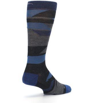 Image of Charcoal Blue Grey Stripe Wool Men's Socks (side-1-back-22)