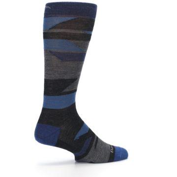 Image of Charcoal Blue Grey Stripe Wool Men's Socks (side-1-23)