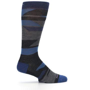 Image of Charcoal Blue Grey Stripe Wool Men's Socks (side-1-24)