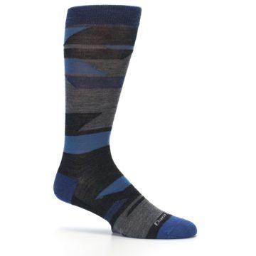 Image of Charcoal Blue Grey Stripe Wool Men's Socks (side-1-25)