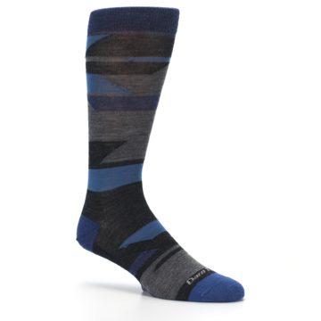 Image of Charcoal Blue Grey Stripe Wool Men's Socks (side-1-26)