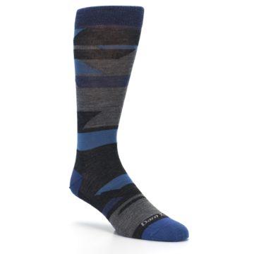 Image of Charcoal Blue Grey Stripe Wool Men's Socks (side-1-27)