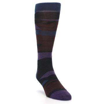 Image of Purple Blue Geometric Men's Wool Lifestyle Socks (side-1-front-02)
