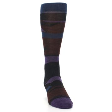Image of Purple Blue Geometric Men's Wool Lifestyle Socks (side-1-front-03)