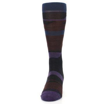 Image of Purple Blue Geometric Men's Wool Lifestyle Socks (front-05)
