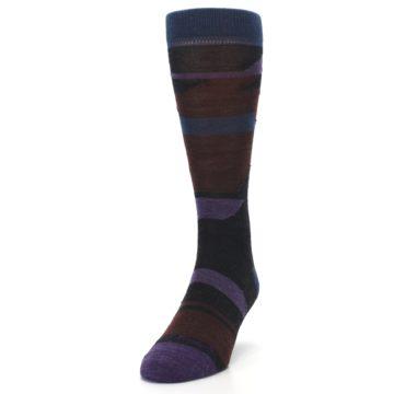Image of Purple Blue Geometric Men's Wool Lifestyle Socks (side-2-front-06)