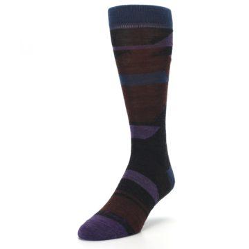 Image of Purple Blue Geometric Men's Wool Lifestyle Socks (side-2-front-07)