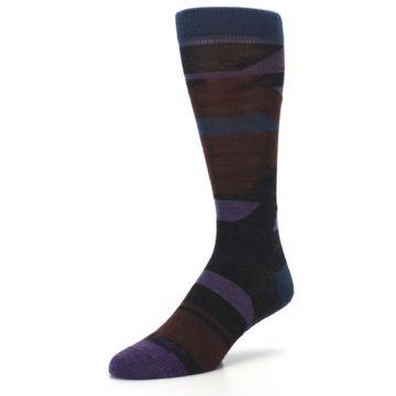 Image of Purple Blue Geometric Men's Wool Lifestyle Socks (side-2-front-08)