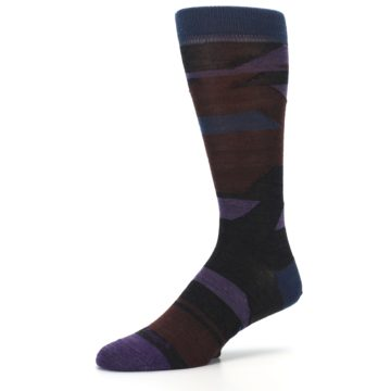 Image of Purple Blue Geometric Men's Wool Lifestyle Socks (side-2-09)