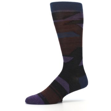 Image of Purple Blue Geometric Men's Wool Lifestyle Socks (side-2-10)