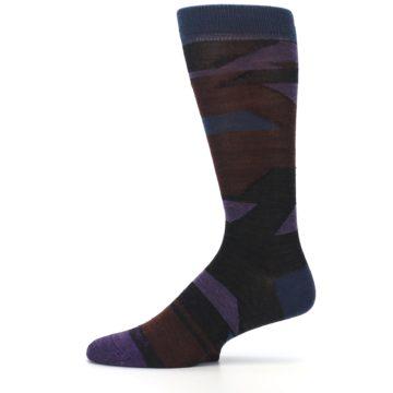 Image of Purple Blue Geometric Men's Wool Lifestyle Socks (side-2-11)
