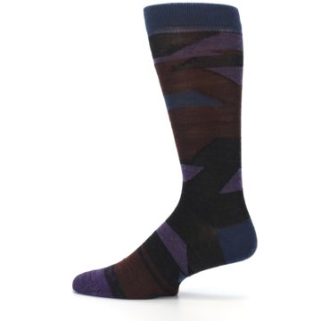 Image of Purple Blue Geometric Men's Wool Lifestyle Socks (side-2-12)