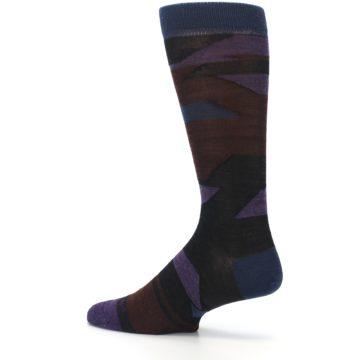 Image of Purple Blue Geometric Men's Wool Lifestyle Socks (side-2-13)