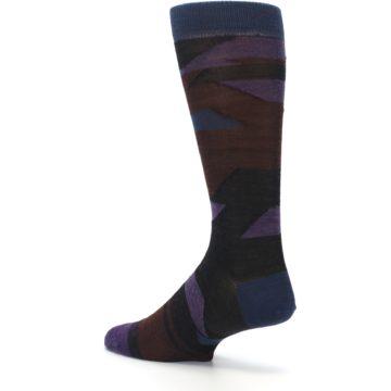 Image of Purple Blue Geometric Men's Wool Lifestyle Socks (side-2-back-14)