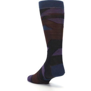 Image of Purple Blue Geometric Men's Wool Lifestyle Socks (side-2-back-15)