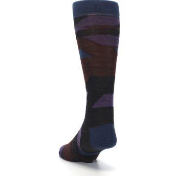 Image of Purple Blue Geometric Men's Wool Lifestyle Socks (side-2-back-16)