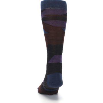 Image of Purple Blue Geometric Men's Wool Lifestyle Socks (back-17)