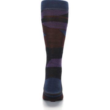 Image of Purple Blue Geometric Men's Wool Lifestyle Socks (back-18)