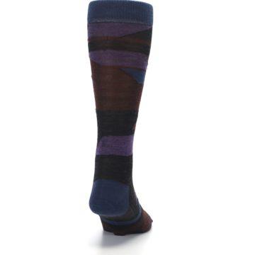 Image of Purple Blue Geometric Men's Wool Lifestyle Socks (back-19)
