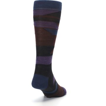 Image of Purple Blue Geometric Men's Wool Lifestyle Socks (side-1-back-20)