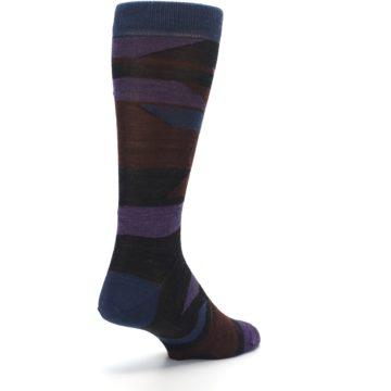 Image of Purple Blue Geometric Men's Wool Lifestyle Socks (side-1-back-21)