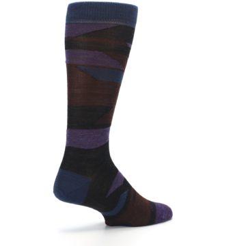Image of Purple Blue Geometric Men's Wool Lifestyle Socks (side-1-back-22)