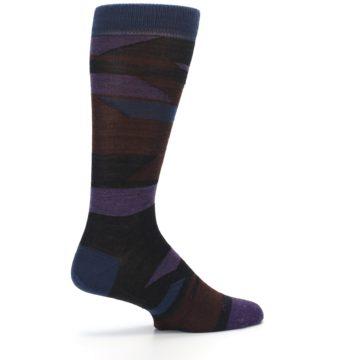 Image of Purple Blue Geometric Men's Wool Lifestyle Socks (side-1-23)