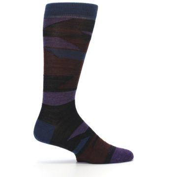 Image of Purple Blue Geometric Men's Wool Lifestyle Socks (side-1-24)
