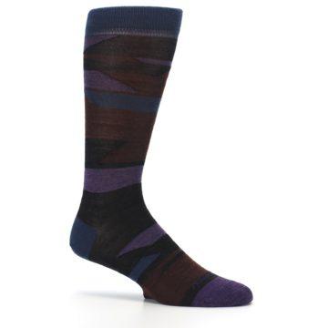 Image of Purple Blue Geometric Men's Wool Lifestyle Socks (side-1-25)