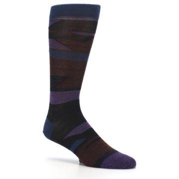 Image of Purple Blue Geometric Men's Wool Lifestyle Socks (side-1-26)