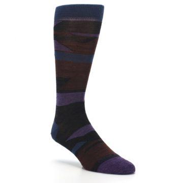 Image of Purple Blue Geometric Men's Wool Lifestyle Socks (side-1-27)