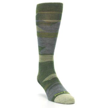 Image of Green Blue Geometric Wool Men's Lifestyle Socks (side-1-front-02)