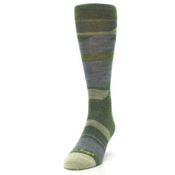 Image of Green Blue Geometric Wool Men's Lifestyle Socks (side-2-front-06)